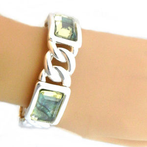 Jewelry - Stretch Bracelet-Abalone Look Stone Silver Chain